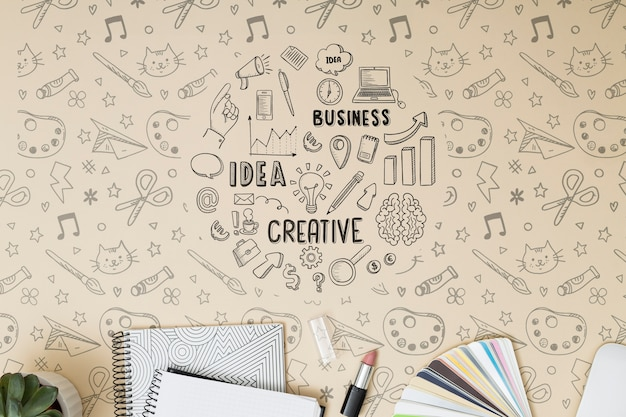 Top view notebooks with mock-up Free Psd