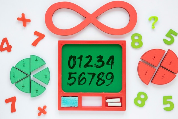 Top view of numbers with shapes and infinity Free Psd