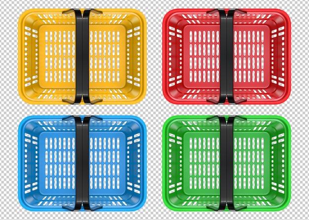 Вид сверху красной пустой пластиковой корзины для покупок. Premium Psd