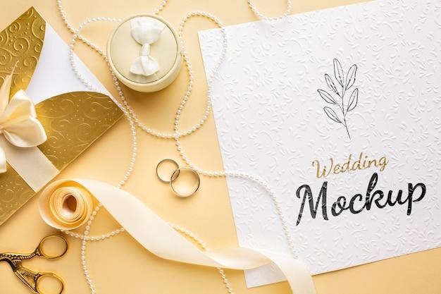 Вид сверху на красивый свадебный макет концепции Бесплатные Psd