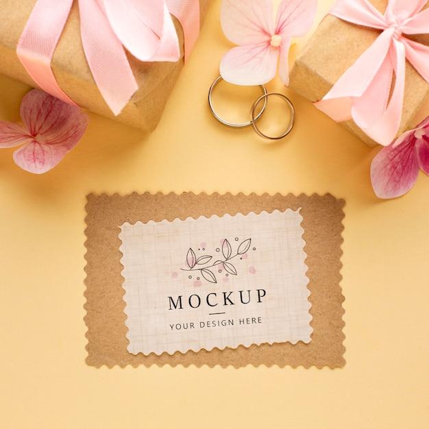 아름다운 결혼식 개념 모형의 상위 뷰 무료 PSD 파일