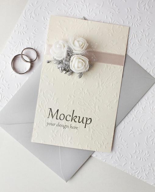 아름다운 결혼식 개념 모형의 상위 뷰 프리미엄 PSD 파일