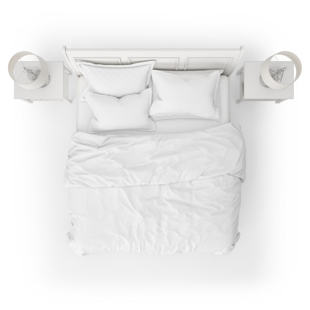 Вид сверху макета кровати с ночными столиками Бесплатные Psd