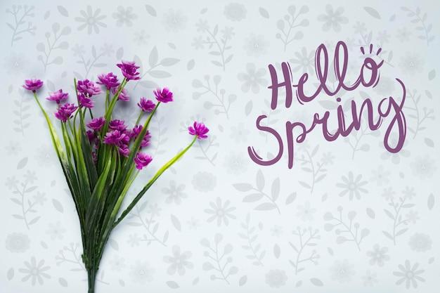 春の花の花束のトップビュー 無料 Psd