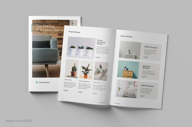Вид сверху макетов брошюр и каталогов Premium Psd