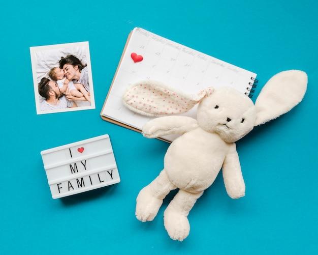 Вид сверху кролика с блокнотом и фотографиями Бесплатные Psd
