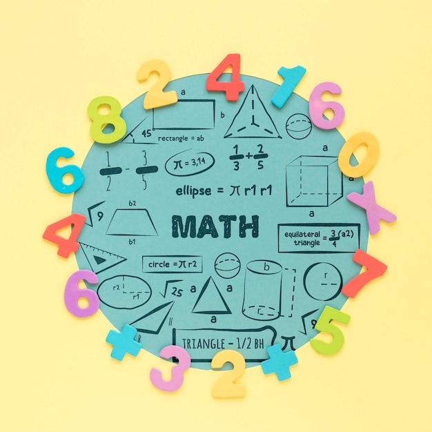 수학에 대 한 다채로운 숫자의 상위 뷰 무료 PSD 파일