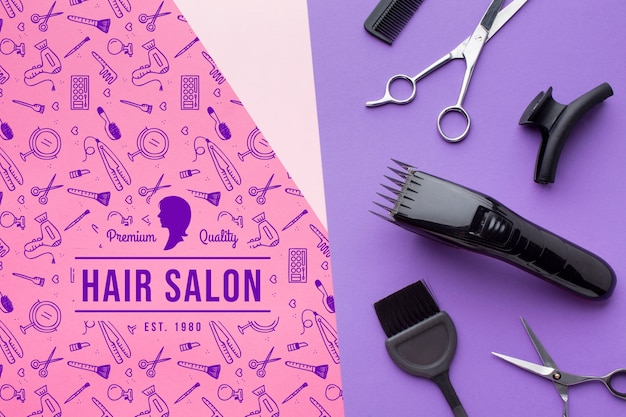 Вид сверху парикмахерской концепции макета Бесплатные Psd