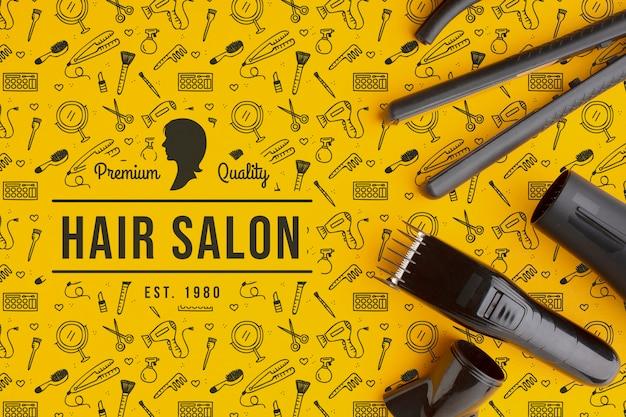 Вид сверху парикмахерской концепции макета Premium Psd