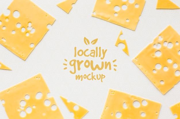 Вид сверху на макет местного сыра Premium Psd