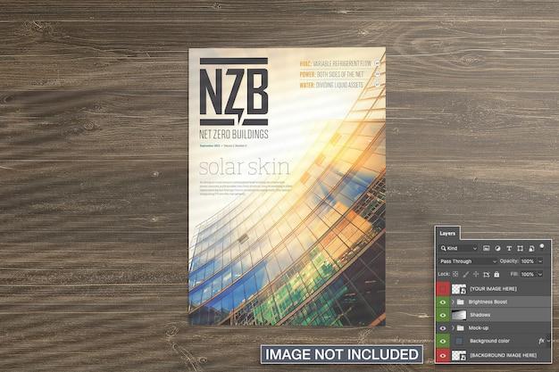 잡지 표지 이랑의 상위 뷰 무료 PSD 파일