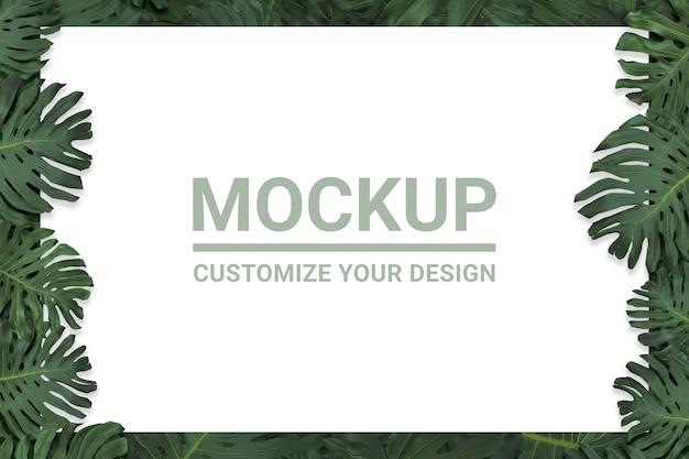 Вид сверху листьев растения монстера или тропической листвы фон в зеленом лесу Premium Psd