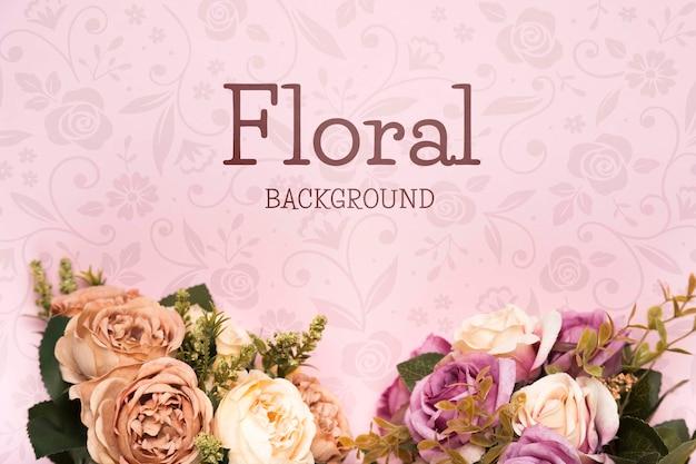 春のバラの花束のトップビュー Premium Psd