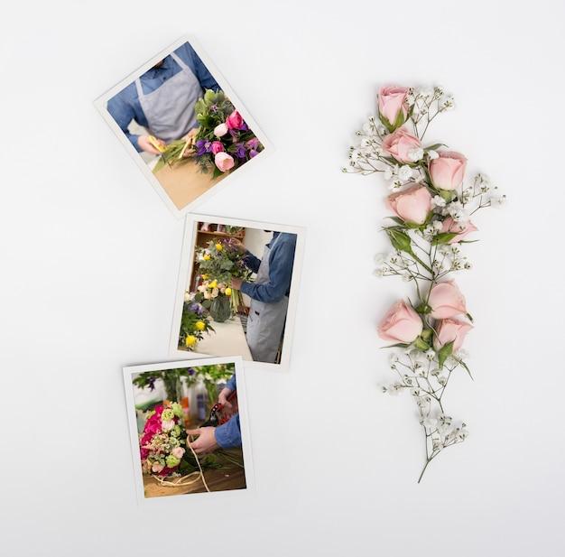 写真と春のバラのトップビュー 無料 Psd