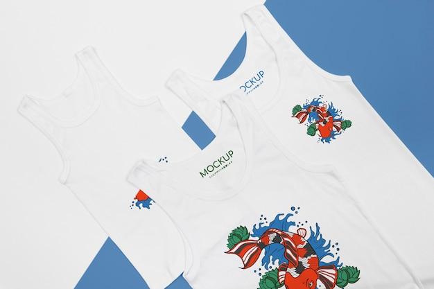 T- 셔츠 개념 모형의 상위 뷰 프리미엄 PSD 파일