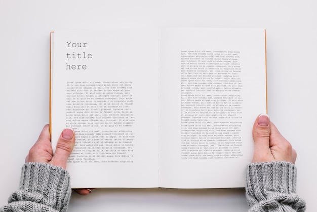 Top view open book mockup Free Psd