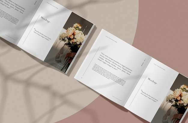 Вид сверху, открытая книга с тенями, редакционный макет журнала Premium Psd