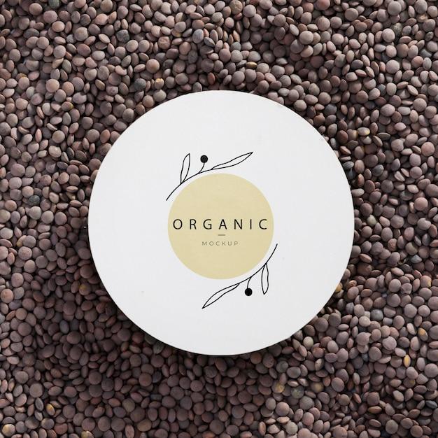 Mock-up organico vista dall'alto con lenticchie Psd Gratuite