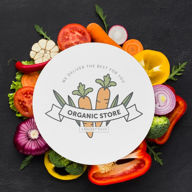 Top view organic vegetables with mock-up Free Psd