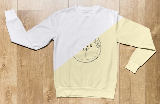 Top view pale yellow hoodie mock-up Free Psd