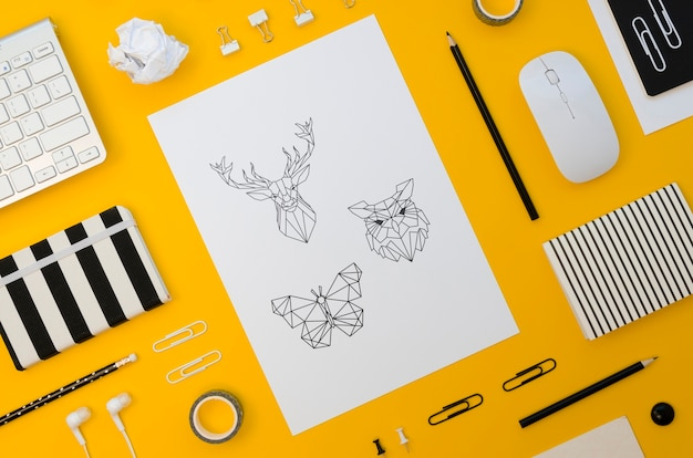 Top view paper mock-up on yellow background Free Psd