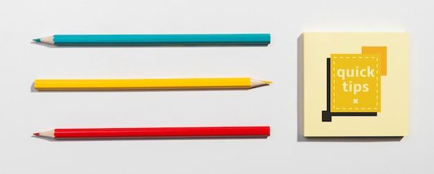 Top view pencils knolling desk concept Free Psd