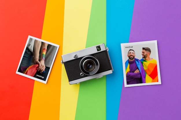 Top view of pictures with camera for pride Free Psd