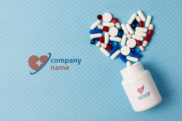 Top view pills arrangement Free Psd