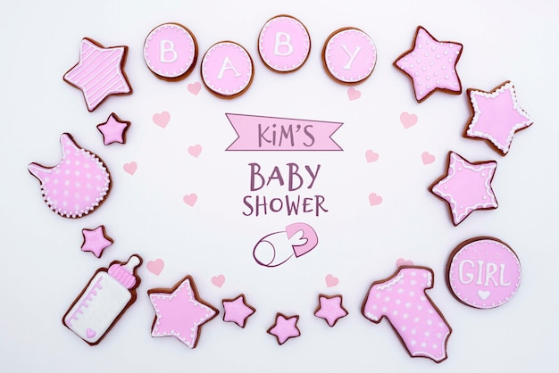 Top view of pink baby shower decorations Free Psd