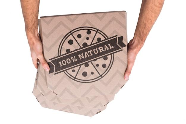 Vista dall'alto scatole per la consegna della pizza Psd Gratuite