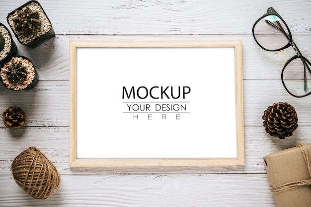 Top view poster frame design mockup Free Psd
