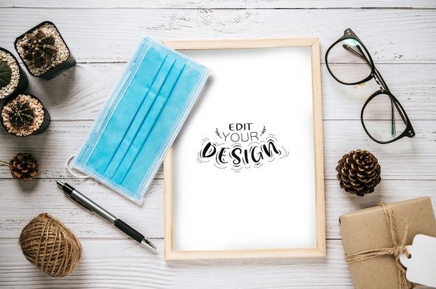 상위 뷰 포스터 프레임 디자인 모형 무료 PSD 파일