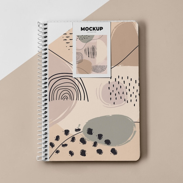 Top view poster mockup and notebook Free Psd