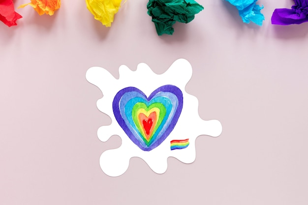 Top view pride day heart draw Free Psd