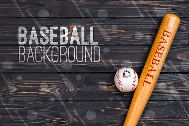 Top view professional baseball bat and ball Free Psd