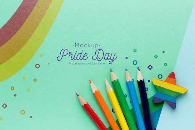 Top view of rainbow colored pencils for pride Free Psd
