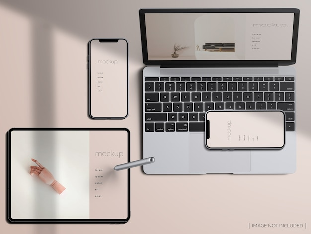 Top view responsive devices screen mockup Premium Psd