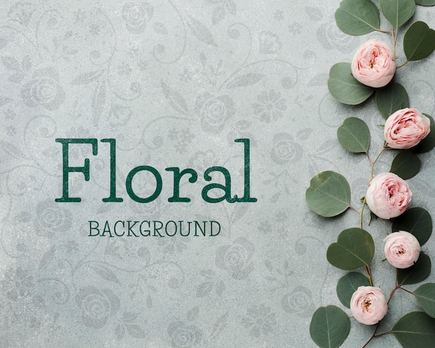 Top view of roses and leaves Free Psd