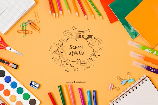 Top view school elements with drawing Free Psd