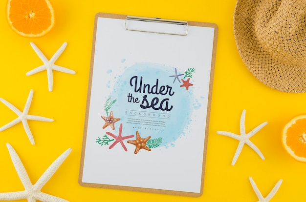 Top view under the sea drawing with mock-up Free Psd
