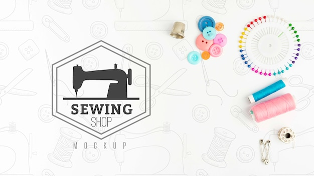 モックアップとトップビュー縫製コンセプト 無料 Psd