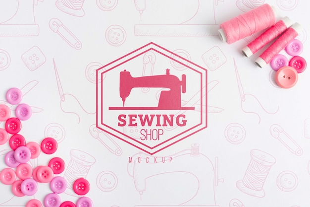 Top view sewing concept with mock-up Free Psd