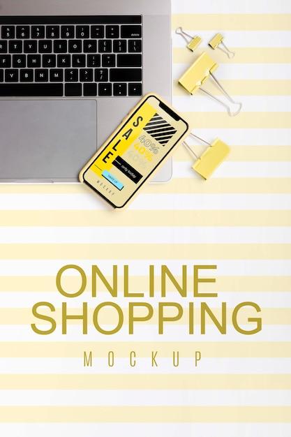 Вид сверху, покупки в интернете на ноутбуке и мобильном телефоне Бесплатные Psd