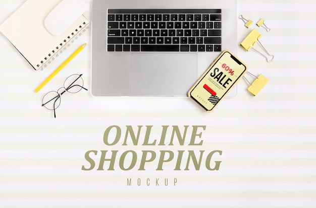 Top view shopping online Free Psd