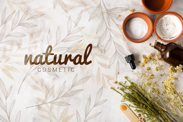 Top view of skincare products Free Psd
