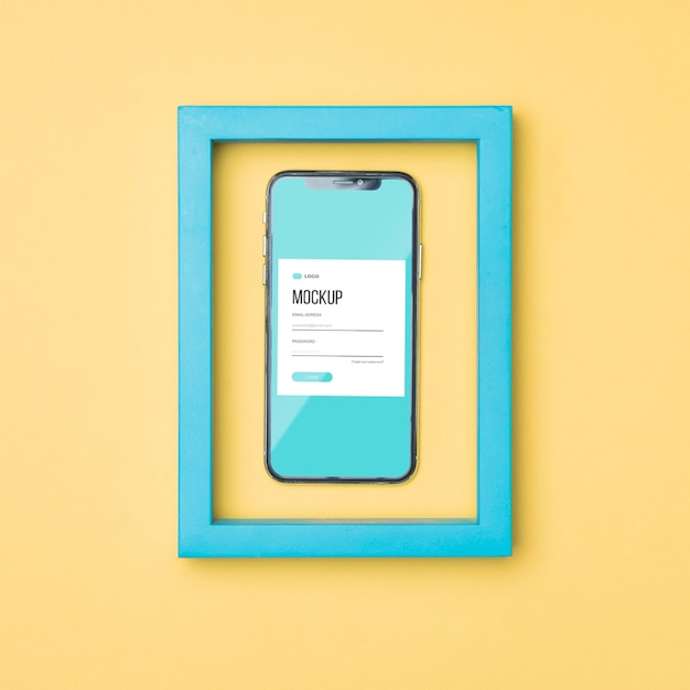 블루 프레임 모형의 상위 뷰 스마트 폰 무료 PSD 파일