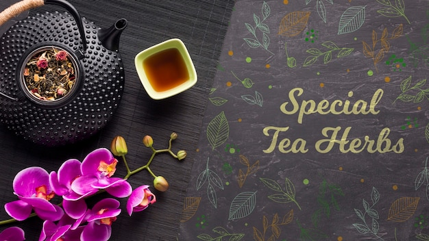Top view special tea herbs with colorful flowers Free Psd