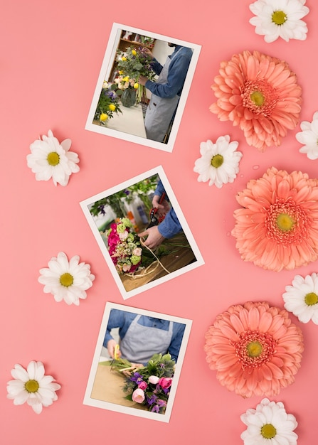 Top view of spring daisies with photos and chamomile Free Psd