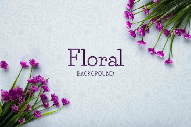 Top view of spring flowers Premium Psd