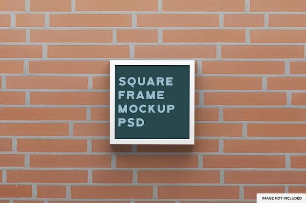 Top view on square birch frame mockup Premium Psd